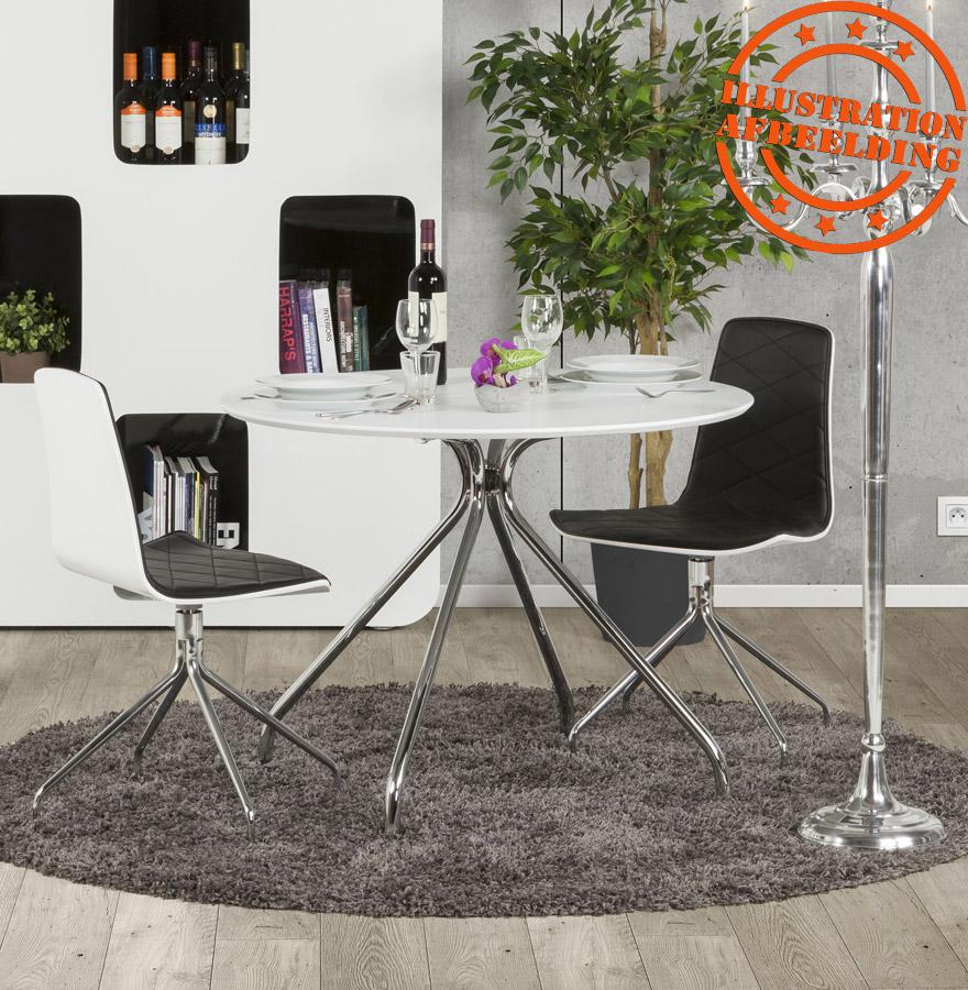 Ronde, witte design keukentafel grif white   design tafel