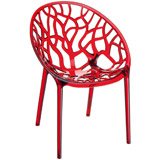 Rode transparante stoel GEO - Alterego Design