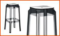 Barkruk LENO in transparant zwart kunststof - Alterego Design