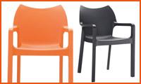 Terrasstoel VIVA uit oranje kunststof - Alterego Design