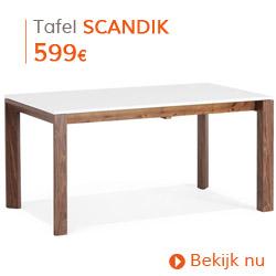 Scandinavisch - Witte, matte, uitschuifbare eettafel SCANDIK